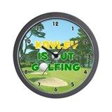 Kayley is Out Golfing (Gold) Golf Wall Clock