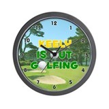Keely is Out Golfing (Gold) Golf Wall Clock