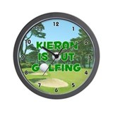 Kieran is Out Golfing (Green) Golf Wall Clock