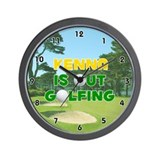 Kenna is Out Golfing (Gold) Golf Wall Clock