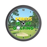 Kenzie is Out Golfing (Gold) Golf Wall Clock