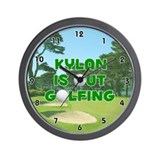 Kylan is Out Golfing (Green) Golf Wall Clock