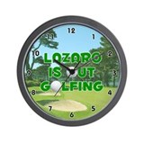 Lazaro is Out Golfing (Green) Golf Wall Clock