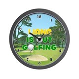 Liana is Out Golfing (Gold) Golf Wall Clock