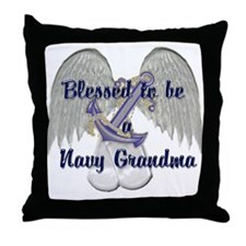Blessed Navy Grandma Throw Pillow