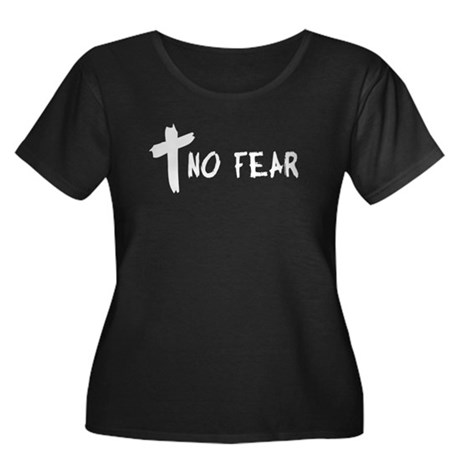 No Fear Cross Women's Plus Size Scoop Neck Dark T-