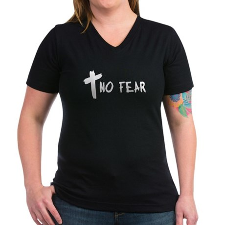 No Fear Cross Women's V-Neck Dark T-Shirt