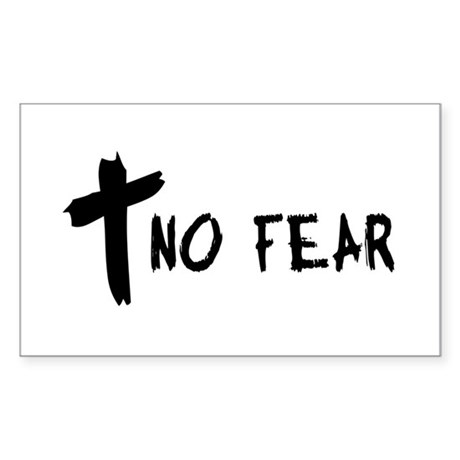 No Fear Cross Rectangle Sticker
