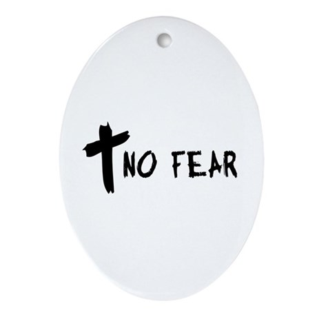 No Fear Cross Oval Ornament