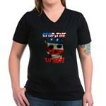 Anti War Women's V-Neck Dark T-Shirt