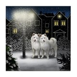 WHITE AKITA DOG SNOW CITY Tile Coaster