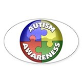 Autism Awareness Jewel Oval Decal