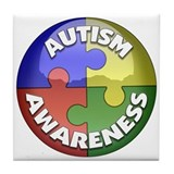 Autism Awareness Jewel Tile Coaster