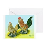 Mille Fleur Rooster & Hen Greeting Cards (Pk of 20