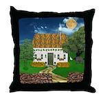 Storm Cottage Scene Throw Pillow