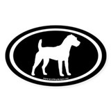 Jack Russell Oval (wh on bl) Oval Decal