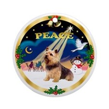 XmasSunrise(Peace)Norwich Terrier Ornament (Round)