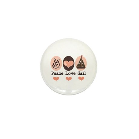 Peace Love Sail Boat Sailing Mini Button