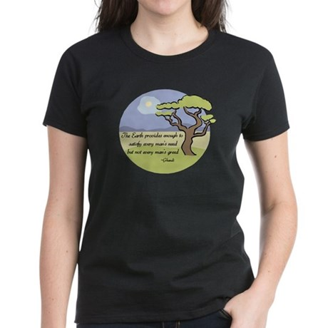 Ghandi Earth quote Women's Dark T-Shirt