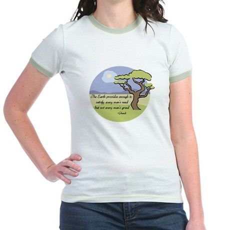 Ghandi Earth quote Jr. Ringer T-Shirt