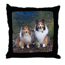 Cute TWIN SHELTIE Photo Portrait Throw Pillow