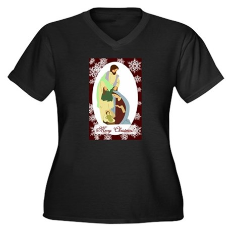 The Nativity Women's Plus Size V-Neck Dark T-Shirt