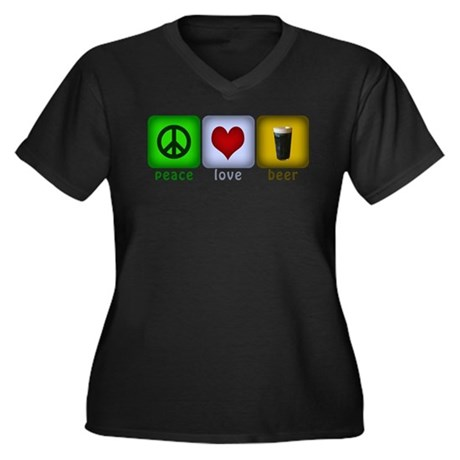 Peace, Love, and Beer Women's Plus Size V-Neck Dar