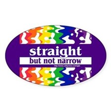 straight but not narrow Oval Stickers