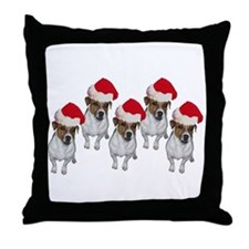 """Jack Russell Santa"" Throw Pillow"