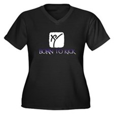 BORN TO KICK Women's Plus Size V-Neck Dark T-Shirt