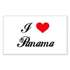 I Love Panama Rectangle Decal