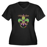 Beaded Mardi Gras Women's Plus Size V-Neck Dark T-