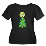 Christmas Tree Women's Plus Size Scoop Neck Dark T