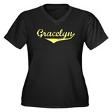 Gracelyn Vintage (Gold) Women's Plus Size V-Neck D
