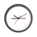 I Dyslexia Heart Wall Clock