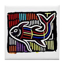 Mola Whale, Kuna art from San Tile Coaster