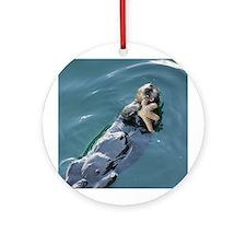 Otter Eating Starfish Ornament (Round)