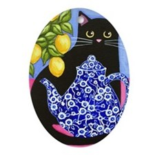 Black CAT Blue Calico Teapot Oval Ornament