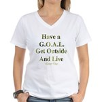 GOAL - Get Outside And Live Women's V-Neck T-Shirt