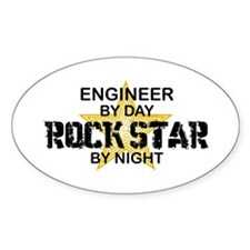 Engineer Rock Star by Night Oval Decal