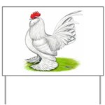 White d'Uccle Rooster Yard Sign