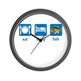 eat sleep fish Wall Clock