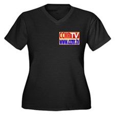 CCMR TV Women's Plus Size V-Neck Dark T-Shirt