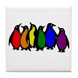 Rainbow Penguins Tile Coaster