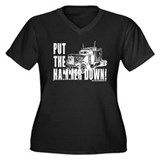 Trucker-Hammer Down-Blk Women's Plus Size V-Neck D