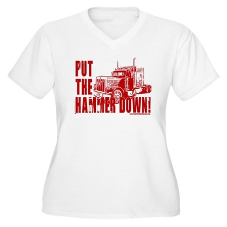 Trucker-Hammer Down-Red Women's Plus Size V-Neck T