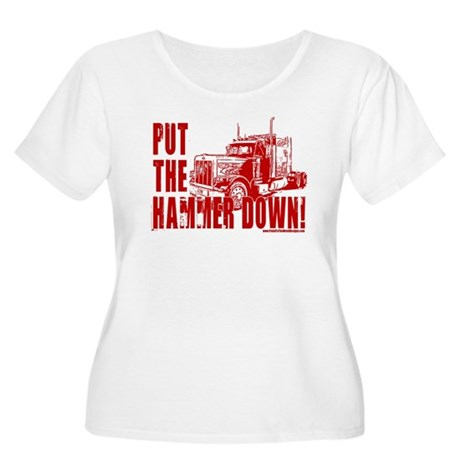 Trucker-Hammer Down-Red Women's Plus Size Scoop Ne