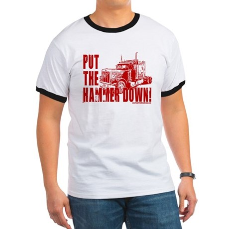 Trucker-Hammer Down-Red Ringer T