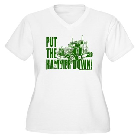 Trucker-Hammer Down-Grn Women's Plus Size V-Neck T