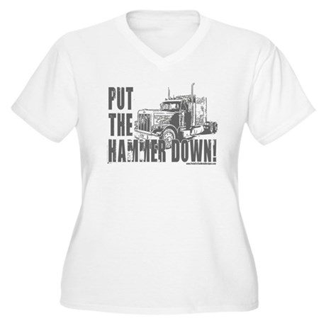 Trucker-Hammer Down-Gry Women's Plus Size V-Neck T